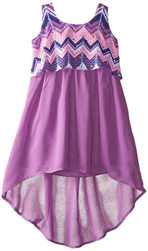 Pogo Club Little Girls Printed Chiffon Popover Dress  Medium Purple  Large