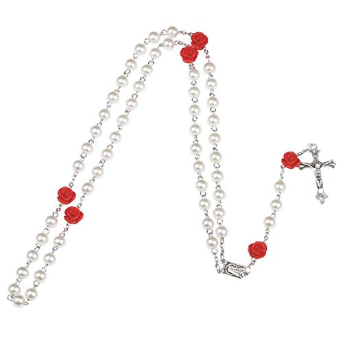 Dolovely White Pearl Beads Long Chain Catholic Holy Rosary Necklace Crucifix Cross Pendant for Women Girls