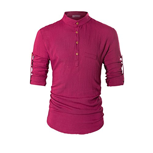 KEYBUR Beloved Mens Henley Neck Long Sleeve Popover Daily Look Linen Shirts M,