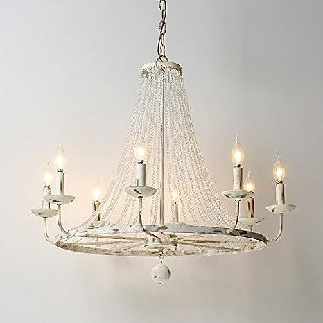 Rustic 5-Light Candle-Shaped Light Crystal Bead Strands Metal Wheel Large Light