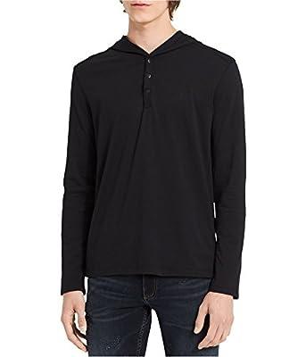 Calvin Klein Mens Henley Hoodie Sweatshirt
