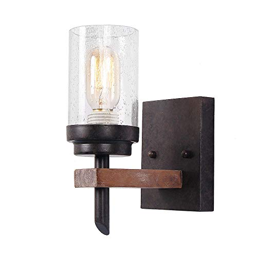 (Eumyviv Rustic Wood Wall Sconce with Seeded Glass Shade, Vintage Industrial Hardwire Bathroom Light Log Cabin Home Retro Edison Wall Light Fixtures 1-Light, Black (17804))