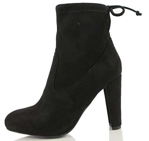 Wild Diva Women's Faux Suede Back Lace Up Tie Pull on Chunky heel Ankle Bootie