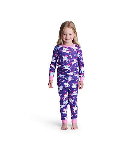 Hatley Girls' Little Organic Cotton Long Sleeve Printed Pajama Sets, Rainbow Winged Unicorns, 6 Years