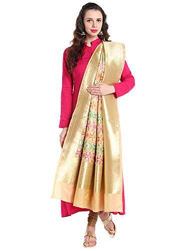 Dupatta Bazaar Women's Pure Benarasi Woven Katan Silk Beige dupatta by Dupatta Bazaar
