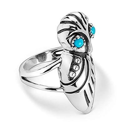 925 Silver Sz 5 Thru 10 Sleeping Beauty Turquoise Owl Ring