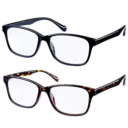 Blue Light Blocking Glasses 2 Pack Anti Eye Eyestrain Glasses with Spring Hinges UV Protection Unisex(Men/Women) (Black&Twiligh)