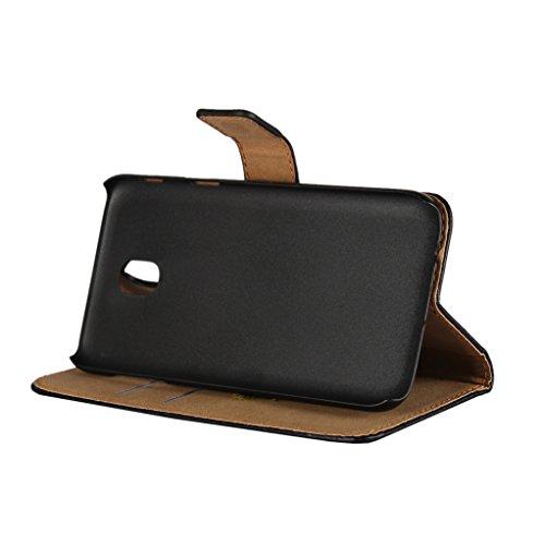 Trumpshop Smartphone Carcasa Funda Protección para Samsung Galaxy J5 SM-J500 [Rojo] Cuero Genuino Caja Protector con Función de Soporte Ranuras para Tarjetas Crédito Choque Absorción Negro