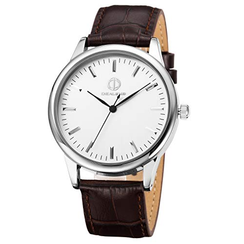Stainless Steel Quartz Mens Womens Leather Wrist Watch Unisex Leather Watch Classic Business Casual Watch for Unisex 30M Waterproof (Brown)