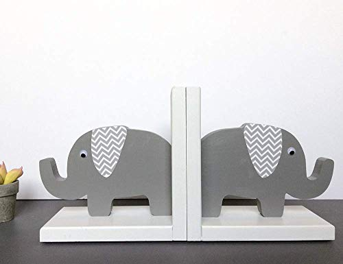 Elephant Bookends Grey and White Chevron Ears HANDMADE in the USA Gray Elephant ()