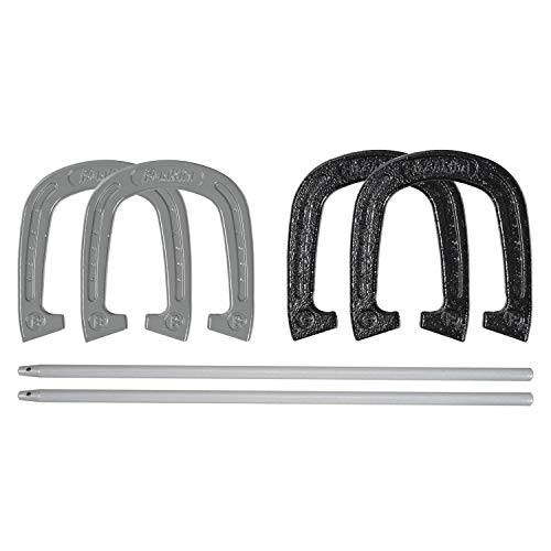 - Franklin Sports Horseshoes Set - Includes 4 Official Size and Weight Forged Steel Horseshoes and 2 Steel Stakes - Beach or Backyard Horseshoe Play - Professional Set