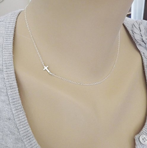 Inspired Silver Cross (FLOW ZIG Eruner Sideways Plus Necklace - Sterling Silver Plus Necklace - Celebrity Inspired Necklace)