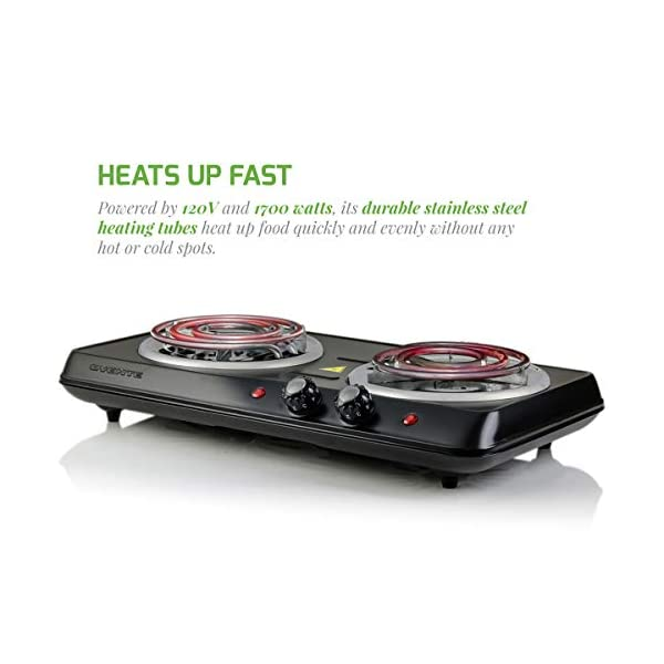 Ovente 5.7 & 6 Inch Double Hot Plate Electric Coil Stove, Portable 1700 Watt Cooktop Countertop Kitchen Burner with… 4