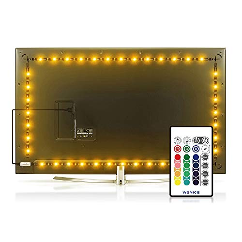 Led Strip Lights 15.2ft for 70,75,80 inch TV 4/Four Sides,WENICE USB LED TV Backlight Kit with Remote - 16 Color 5050 LEDs Bias Lighting for HDTV(4 pcs led Strip Light)