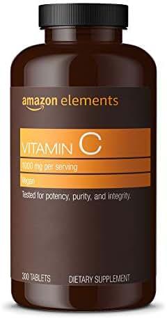 Amazon Elements Vitamin C 1000mg, Vegan, 300 Tablets, 10 month supply