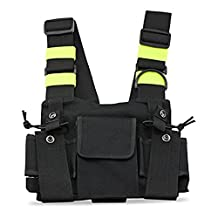 Radio Chest Harness Chest Front Pack Pouch Holster Vest Rig Chest Bag Carry Case for Two Way Radio Walkie Talkie Baofeng UV-5R BF-888S UV-5R TYT Motorola Midland (PT-08 Bright Green)