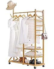 Yorbay 4-in-1 kledingrek van bamboe, met kapstok aan de zijkant, boomontwerp met haken, 3 opbergplanken, met universele wielen