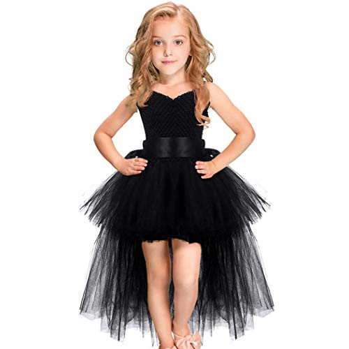 Girls Tutu Dress with Train Handmade V-Neck Tulle Evening Wedding Birthday Party Dresses for Kids Ball Gown (Black,Middle(3-4years))