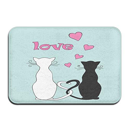Memory Foam Bath Mat Non Slip Absorbent Super Cozy Plush Bathroom Rug Carpet,Black and White Kitty Cat Couple with Tails Tangled and in Love with Valentines Hearts,Decor Door Mat 23.6 X 15.7 Inches