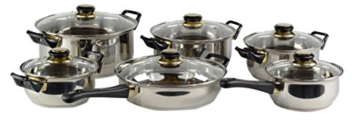 Gourmet Chef Professional, Stainless Steel, Encapsulated Base, Bakelite Handles, Vented Glass Lids, Pots and Pans Set Cookware Set, (Bakelite Pot Holder)