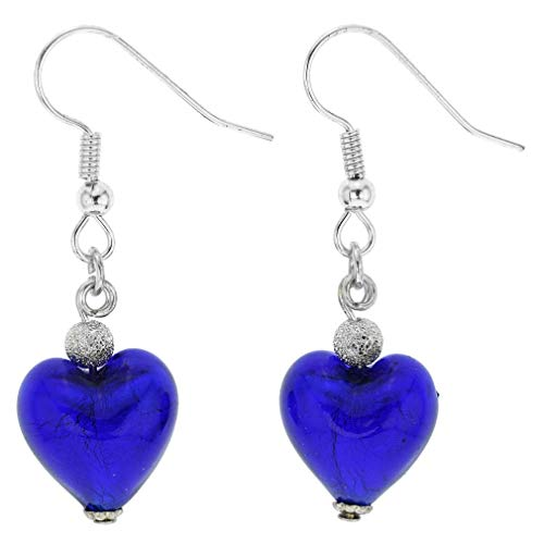 - GlassOfVenice Murano Glass Heart Earrings - Blue