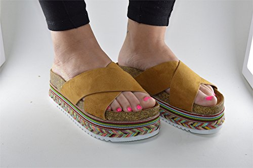 Sandalia Plataforma Camel Moda Blogger