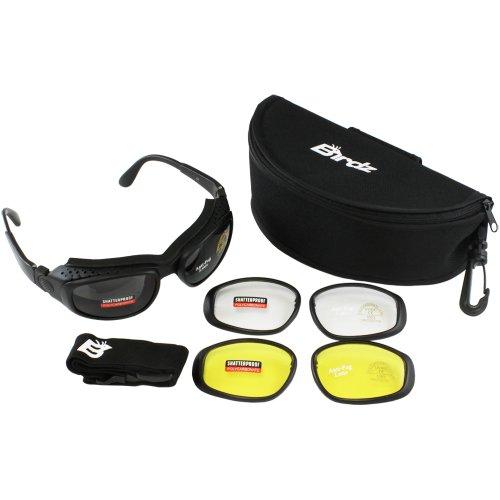 Birdz Eyewear Falcon Padded Glasses Convert to Goggles and Lens Kit (Black Frame/Clear, Smoke, Yellow Lens)