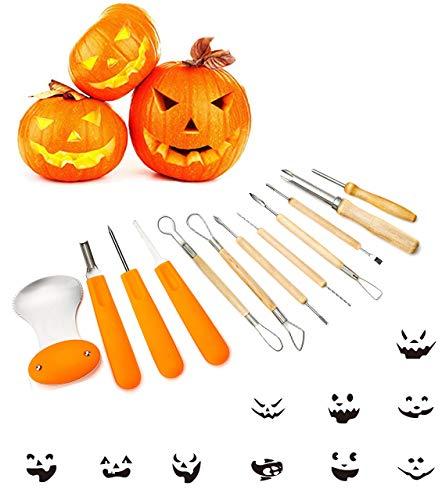 Pumkin Carving Kit (Diravo Professional Kit-Includes 12 10 Stencils Heavy Duty Stainless Steel Tool Set, Used As a Carving Knife For Pumpkin Halloween Decoration, one size,)