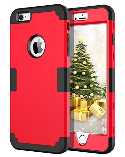 iPhone 6S Plus Case, iPhone 6 Plus Case, BENTOBEN Drop Protection Shockproof 3 in 1 Hybrid Hard PC Covers Soft Silicone Bumper Full Body Protective Case for iPhone 6 Plus / 6S Plus (5.5 Inch), Red (Metallic Red Iphone 6 Plus Case)