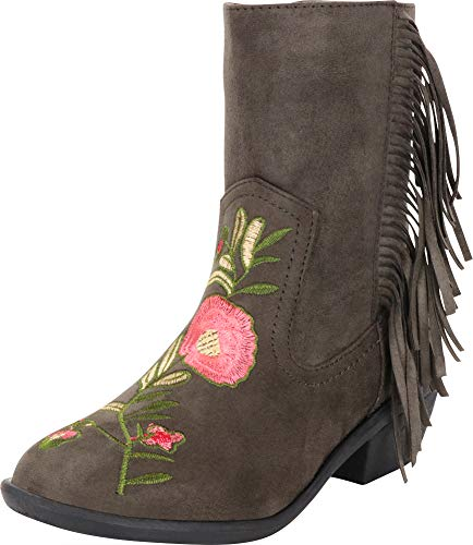 Cambridge Select Women's Western Floral Embroidered Fringe Low Heel Cowboy Boot,7 M US,Olive IMSU -