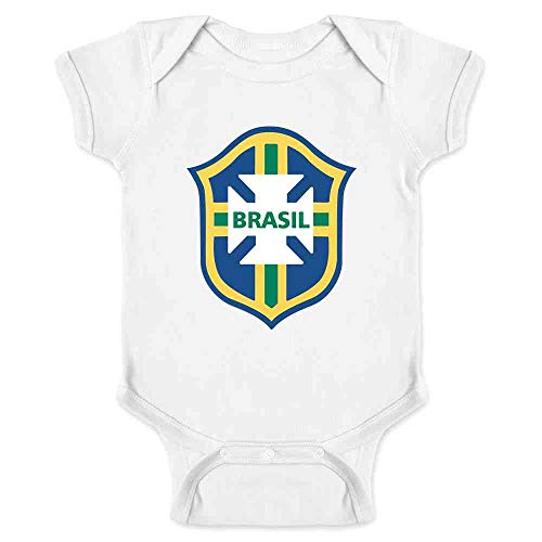 Ronaldinho Apparel - Brazil Futbol Soccer National Team Football Crest White 6M Infant Bodysuit