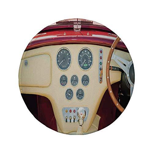 Non-Slip Rubber Round Mouse Pad,Vintage,Retro Classic Sports Car Nostalgia Love Decorative Artistic Original Photo Artwork,Red Cream Brown,11.8