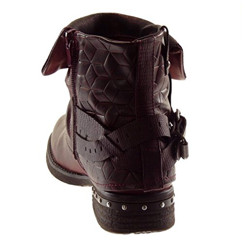 cavalier 2 boots thong Block Shoes Booty Heel 3 Angkorly snakeskin Women's studded Fashion Ankle Wine biker CM wnqa1T0px