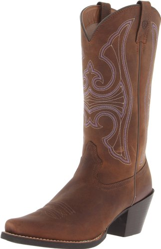 Ariat Women's Round Up D Toe Western Cowboy Boot, Distressed Brown, 8 M US
