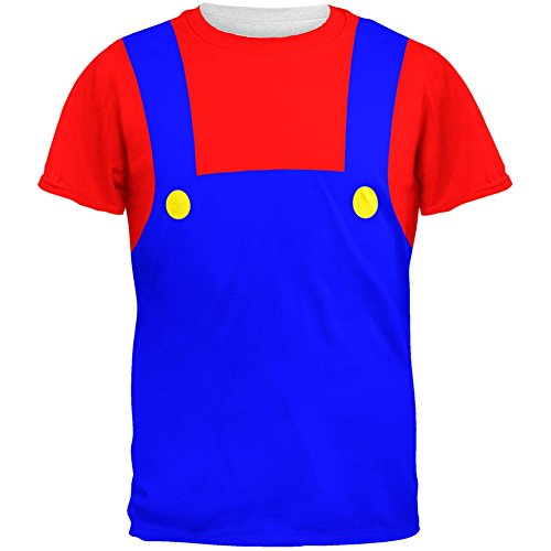 Tv Show Couples Costumes (Halloween Italian Red Plumber Costume All Over Adult T-Shirt - X-Large)