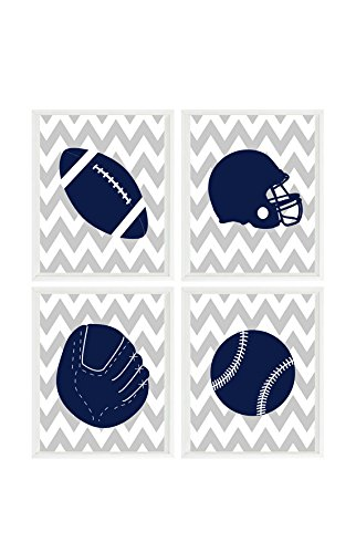 - Sports Nursery Wall Art, Navy Blue Gray Chevron, Baseball, Football, Baby Boy Nursery, Toddler Boy Room, Ball Prints, Boy Wall Art