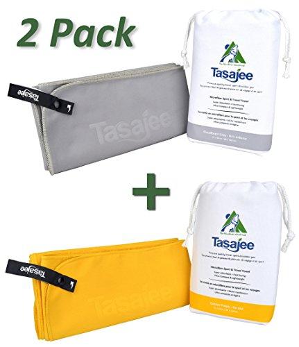 Premium Microfiber Travel & Sports Towel by Tasajee. (Gray/Gold, 31x63-Inch - Australia Triathlon Suits