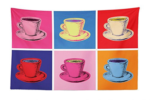 Lunarable Coffee Tapestry, Vintage Colorful Mugs Pop Art Modern Style Avant Garde Punk Sketch of Cups Artful, Fabric Wall Hanging Decor for Bedroom Living Room Dorm, 45 W X 30 L inches, Multicolor from Lunarable