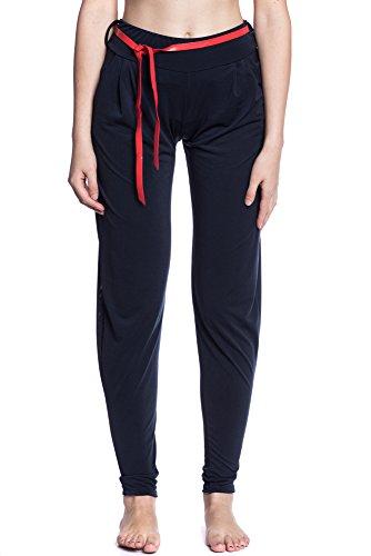 Abbino 7938 Pantalone Ligeros con Arco para Mujer - Hecho en ITALIA - 3 Colores - Entretiempo Transición Primavera Verano Otoño Elegante Rebajas Dulce Flexible Venta Joven Delicado Moderno Casual Azul Marino