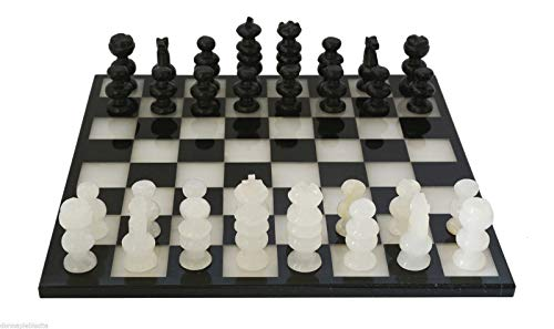 (Italian Black and White Marble Chessboard Scacchiera Handmade Classic Table Chess Set with Pawns 35x35cm 13.8in)