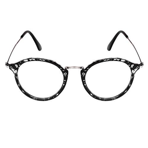 ... Forepin® Lunettes de Vue Rondes Unisex Cadre Frame Lentille Claire pour  Homme et Femme Vintage ... 3d5403547a8