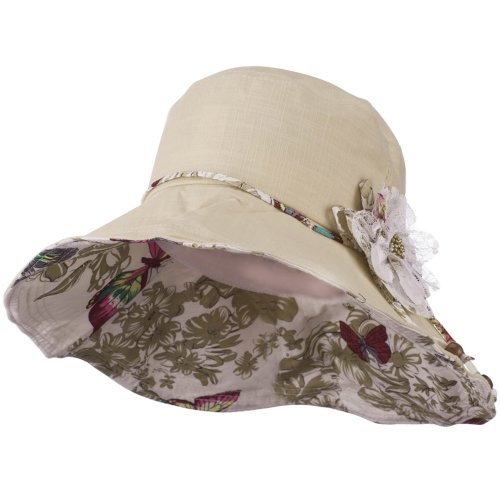 - Ladies Butterfly and Lace Flower Hat - Beige OSFM