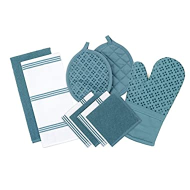 Sticky Toffee Silicone Printed Oven Mitt & Pot Holder, Cotton Terry Kitchen Dish Towel & Dishcloth, Blue, 9 Piece Set