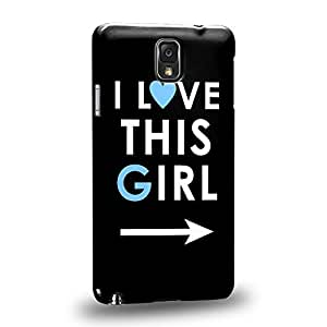 Case88 Premium Designs Art Couple Phone Case Series I Love This Girl Phone Case (Black) Protective Snap-on Hard Back Case Cover for Samsung Galaxy Note 3