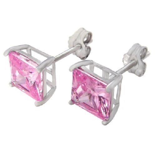 (.925 Sterling Silver Princess Cut Pink Cubic Zirconia Stud)