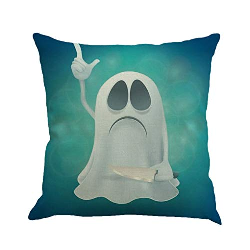 AUWU Halloween Pillowcase Throw Pillow Cover Clever Ghost Lovely Image Flax Pillow Cover 45x45cm