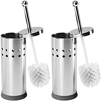 Home Intuition Chrome Steel Vented Toilet Brush and Holder, 2 Pack