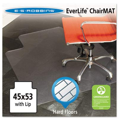 ES Robbins EverLife 45-Inch by 53-Inch Multitask Series Hard Floor with Lip Vinyl Chair Mat, Clear