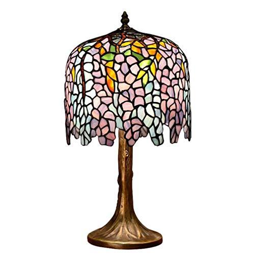 Lámpara de mesa de estilo Tiffany azul, lámpara de escritorio con ...