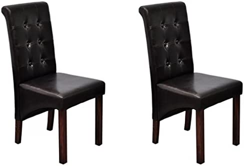 Wondrous Amazon Com Vidaxl Set Of 2 Brown Dining Side Chairs Tufted Machost Co Dining Chair Design Ideas Machostcouk